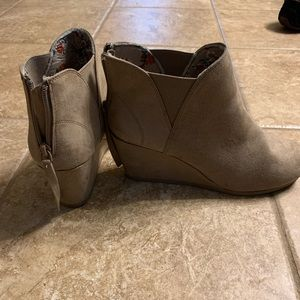 Taupe wedge ankle booties